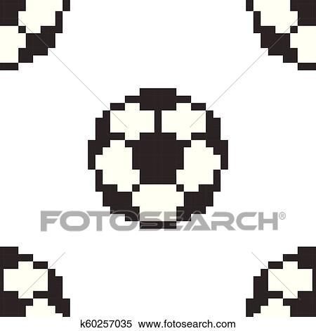 Football Seamless Pattern Tile Soccerball Pixel Art Cartoon