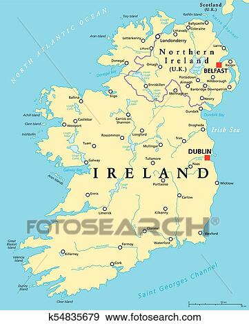 Map Of Ireland Lakes.Ireland And Northern Ireland Political Map Clip Art