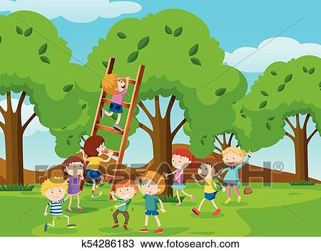 Kids Climbing Ladder In The Park Clipart K54286183 Fotosearch