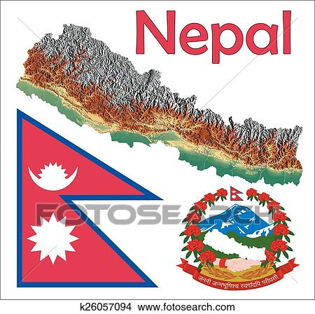 Clipart of Nepal map flag coat k26057094 - Search Clip Art ...