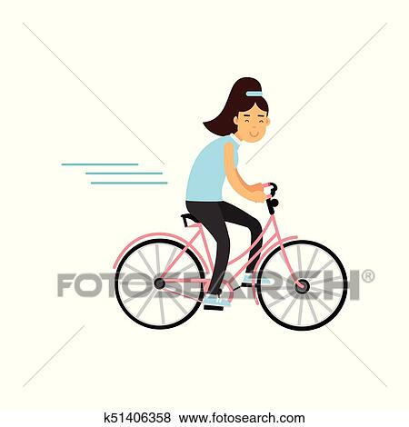 Ragazza Adolescente Ciclismo Su Bicicletta Ragazza Fare Sport Modo Vivere Attivo Vettore Illustrazione Clip Art