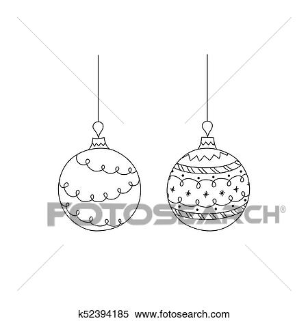Vector Set Of Hand Drawn Christmas Ball Toy Christmas