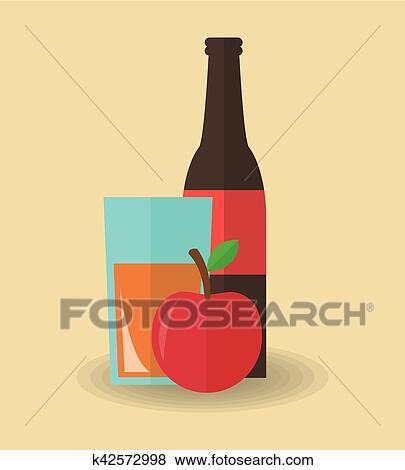 ジュースの飲み物 そして アップル デザイン クリップアート