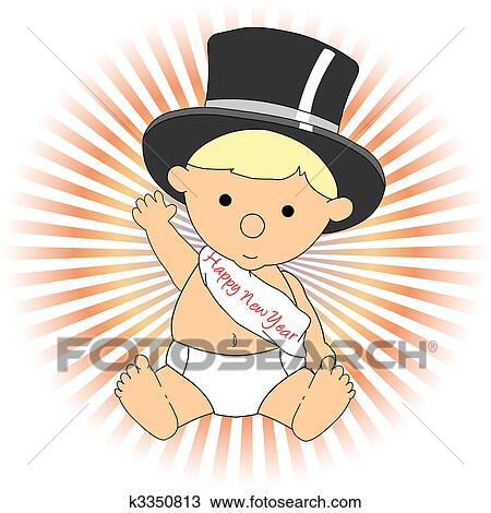 clipart baby new year wearing hat sash waving adorable fotosearch search clip art