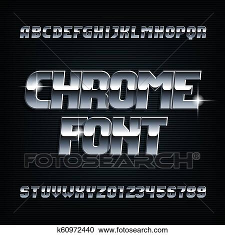 Beveled chrome alphabet font  Metal color italic shiny letters and numbers   Clipart