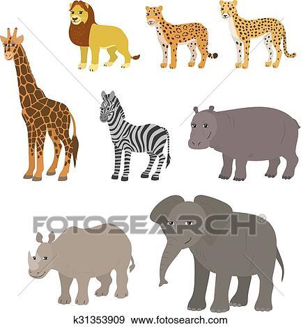 Clip Art - caricatura, conjunto, león, leopardo, guepardo, jirafa ...