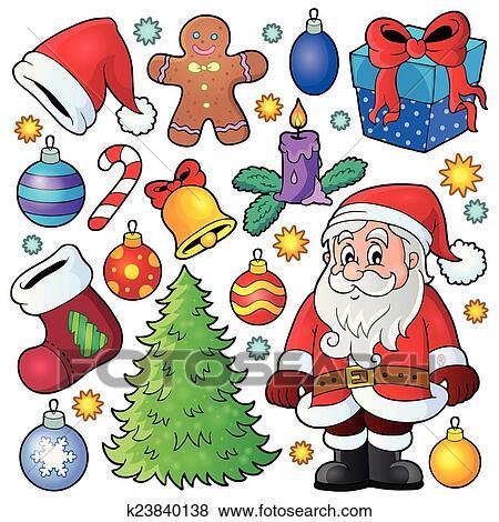 Christmas theme collection 1 Clip Art | k23840138 | Fotosearch