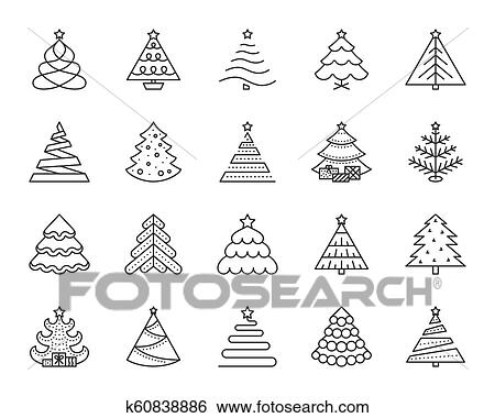 Christmas Tree simple black line icons vector set Clip Art
