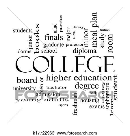 Stock photo college word cloud concept in black and white fotosearch search stock