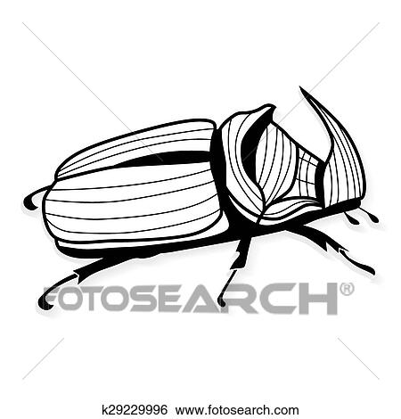 Clip Art - escarabajo rinoceronte, vector, tatuaje, o, para ...