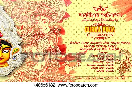 Goddess Durga in Subho Bijoya Happy Dussehra background with bengali text  sharodiya abhinandan meaning Autumn greetings Clipart