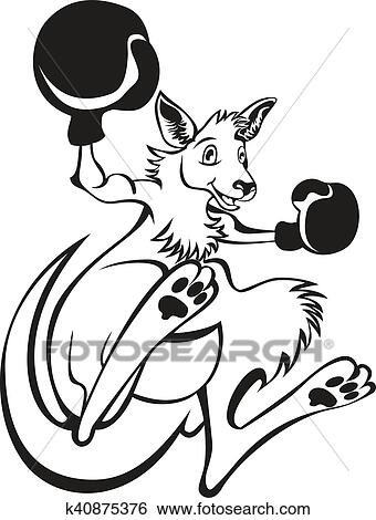 Clip Art Of Illustration Of A Kangaroo Kick Boxer Boxing With Boxing