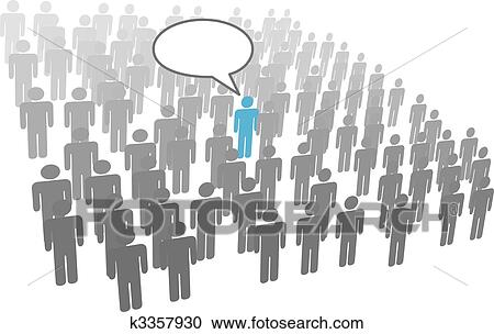 Individual person speech from crowd social group company ...