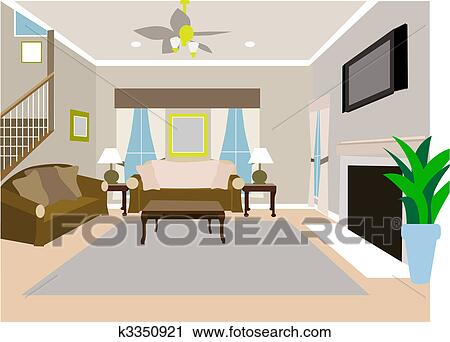 Clipart Of Angled Modern Living Room Two Story House K3350921