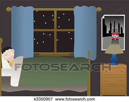 Clipart gar on dormir dans chambre coucher soir - Fenetre grand format ...