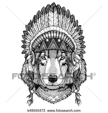 dessin loup chien fauve porter chapeau indien coiffure plumes boho ethnique image. Black Bedroom Furniture Sets. Home Design Ideas