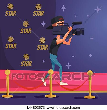 Operator Character With Camera On Red Carpet Ceremony Vector Flat Cartoon Illustration Clipart K44803673 Fotosearch