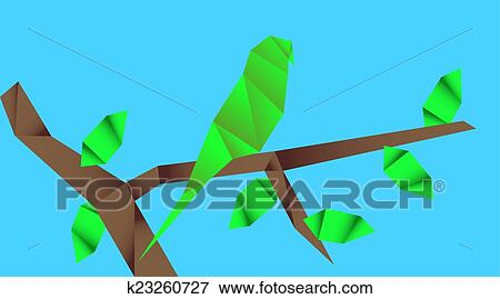 Origami Parrot From Paper Color On White Background. Stock Photo ... | 269x450