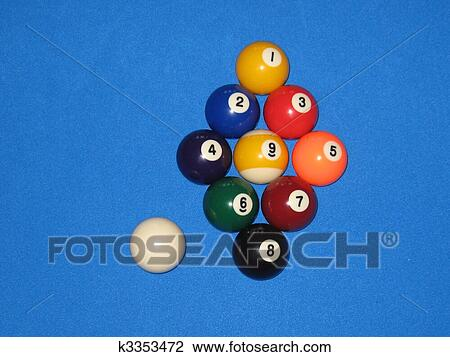 pool balls drawing fotosearch table