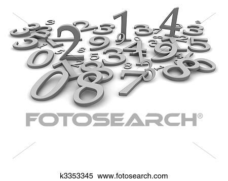 Stock Illustration Schwarz Weiß Zahlen Hintergrund 3d