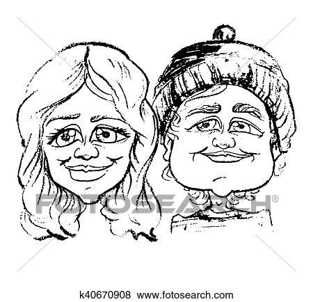 Caricature Homme clipart - sketchy, caricature, portrait, homme femme k40670908
