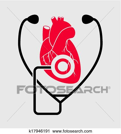 Clipart Of Vector Symbol Of Medical Check Of Heart Health And
