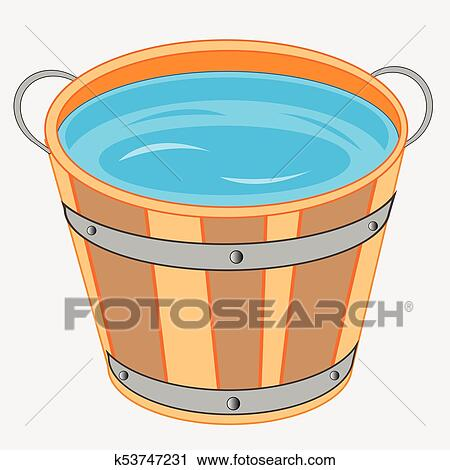 clipart of wooden pail with water k53747231 search clip art
