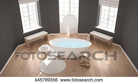 Zen Klassische Heilbad Badezimmer Mit Badewanne Minimalist Skandinavisch Inneneinrichtung Draufsicht Stock Illustration K45799356 Fotosearch