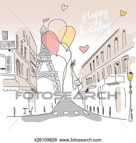 Karte Paris Eiffelturm.Alles Gute Geburtstag Karte Von Paris Strasse Eiffelturm Und Luftballone Hand Gezeichnet Clip Art
