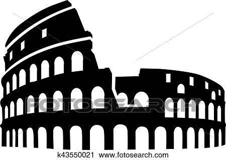 Clipart of Colosseum rome silhouette k43550021 - Search ...