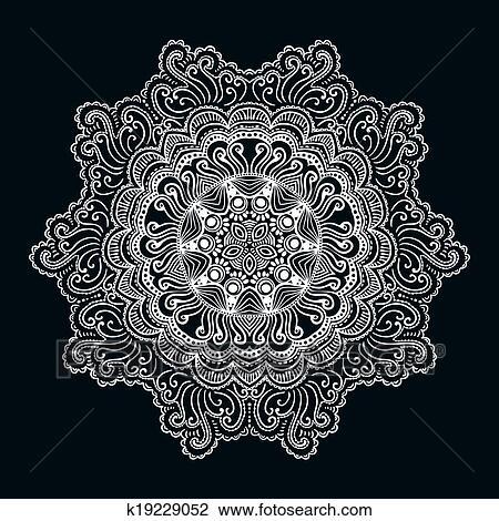 Clipart - dekorativ, runder, spitze, muster, kreis, hintergrund, mit ...