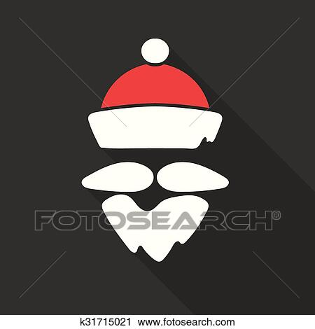 Clipart of flat design vector santa claus face with beard and hat flat design vector santa claus face hat and beard christmas icons with long shadow retro great for avatar and greeting cards m4hsunfo