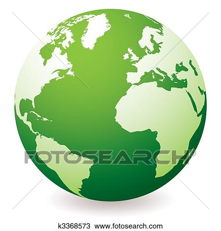 Drawing Of Green Earth Globe K3368573 Search Clipart Illustration