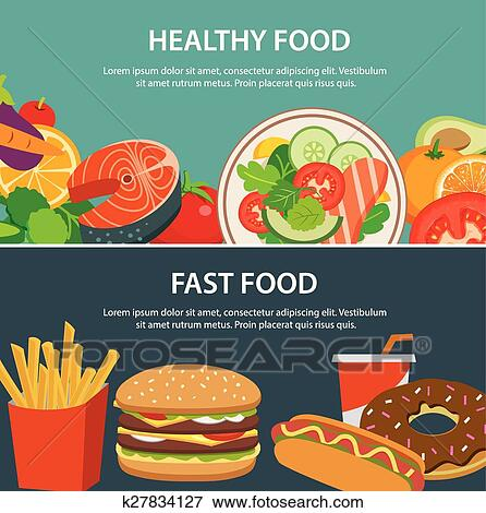 Healthy food and fast food concept banner flat design Clip Art