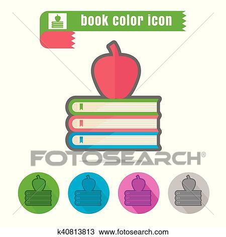 Icone Livre Couleur Blanc Fond Clipart