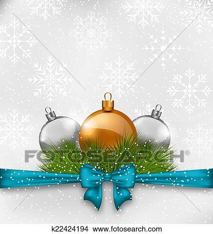 Clipart weihnachten hintergrund mit tanne zweige for Glas mit kugeln dekorieren