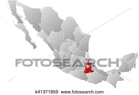 Clip Art Of Map Mexico Puebla K41371859 Search Clipart