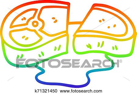 Rainbow Gradient Line Drawing Cartoon Well Cooked Meat Clipart K71321450 Fotosearch