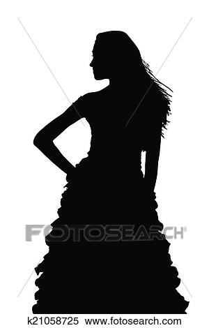 Silhouette Of Slim Girl Posing At Beauty Pageant Clipart K21058725