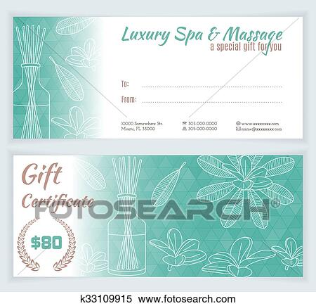 Clipart - Spa, massage gift certificate template. Fotosearch - Search Clip Art, Illustration