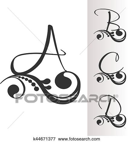 Clip Art Of Vector Vintage Font With Decoration Set 1 Capital