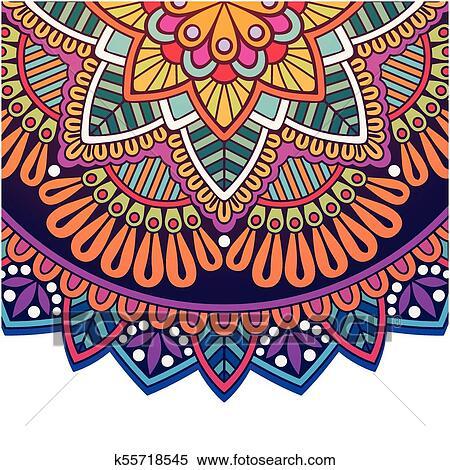 Vindima Mandala Coloridos Circulo Desenho Vetorial Imagem