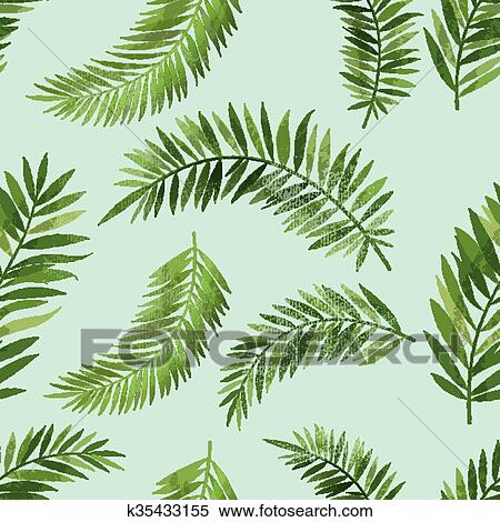 Clipart Of Vintage Seemless Palm Leaf Pattern K35433155