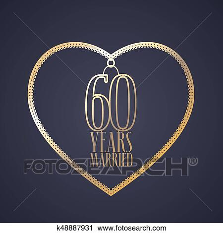 Clipart Of 60 Years Anniversary Of Being Married Vector Icon Logo