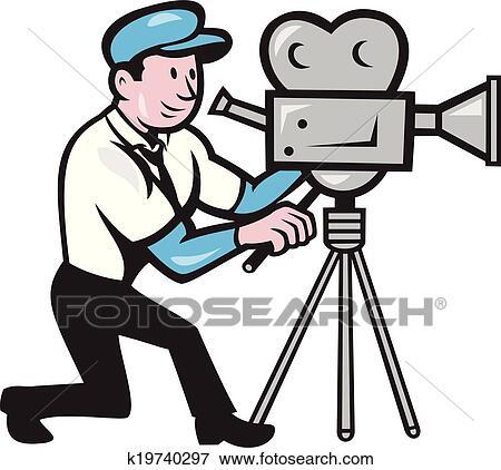 Cameraman Vendange Pellicule Camera Cote Dessin Anime Clipart K19740297 Fotosearch