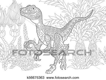 Estinto Species Velociraptor Dinosaur Clipart K56675363