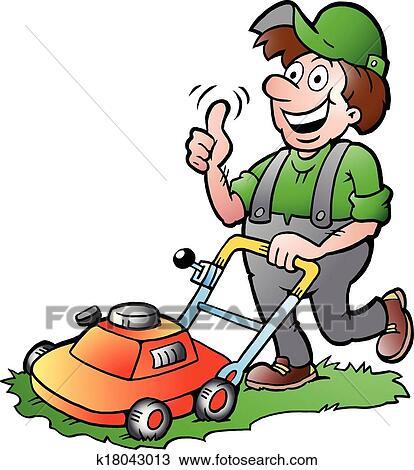 clipart of gardener with his lawnmower k18043013 search clip art rh fotosearch com gardener clip art free gardener clipart images