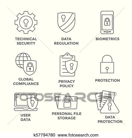 Privacy Policy Clip Art >> Gdpr And Privacy Policy Icon Set With Locks Padlocks And