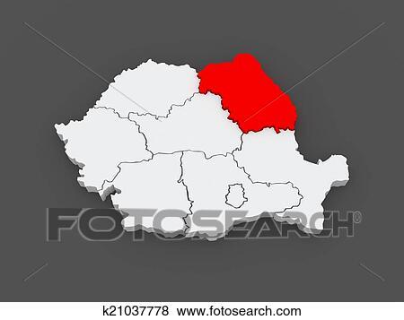 Map of Northeast Region Development Romania. Stock Illustration