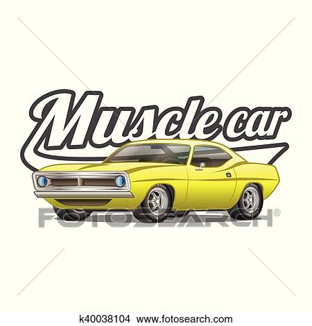 Clipart Of Muscle Car Cartoon Classic Vector Poster T Shirt Print